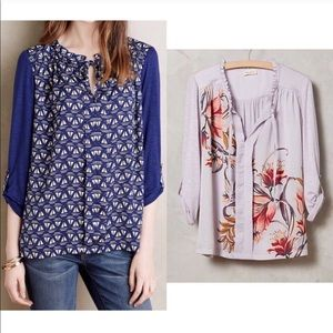 Anthropologie Lavender Floral Top Meadow Rue EUC